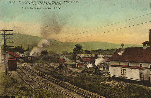The Hillsdale Plow Company (center) and Milk Depot (right) on Railroad Lane (later called White Hill Lane)